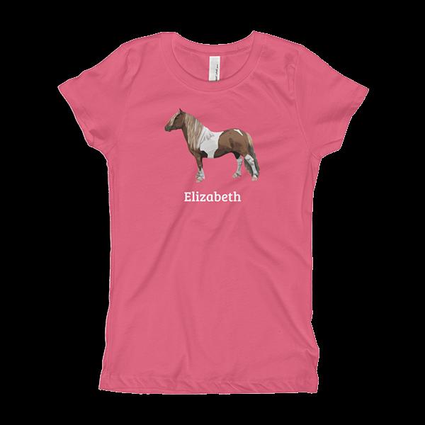 Shetland Pony Customizable Girl's T-Shirt pink